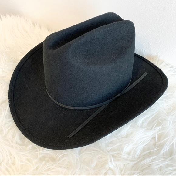 Vintage felted wool hat black tie ribbon western